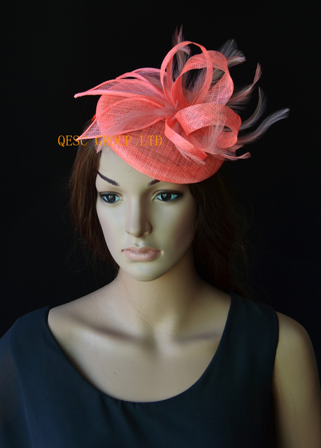 aaef033629f NEW Coral pink sinamay base fascinator wedding hat with sinamay  loops feathers handmade flowers for Royal Races Kentucky derby.