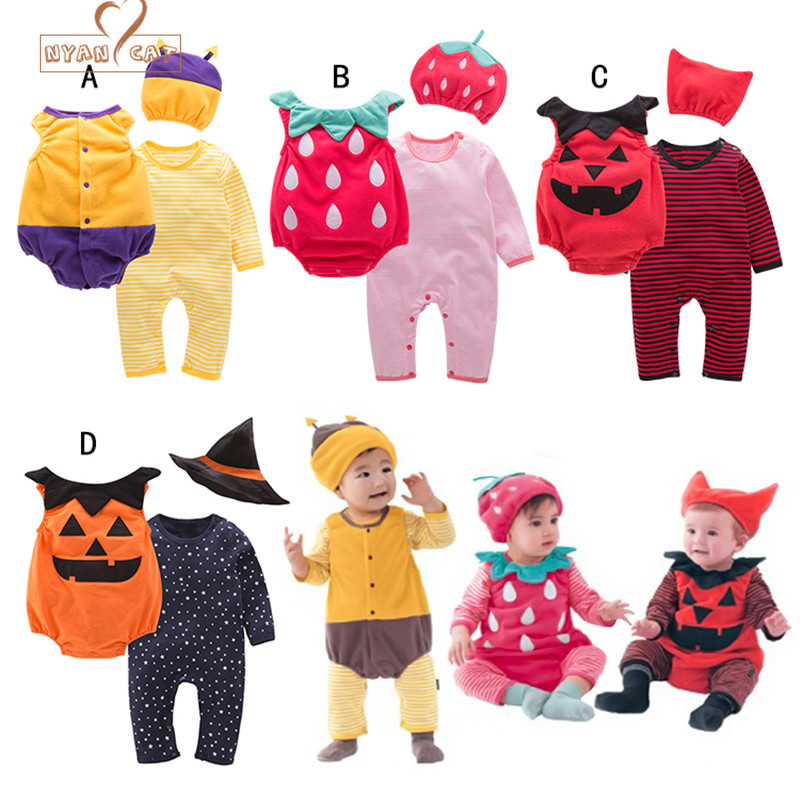 NYAN CAT Halloween baby costume pumpkin strawberry bee clothing set 3pcs hat+romper+bodysuit infant toddler boys girls clothes adda ad7512hb 7530 dc12v 0 24a