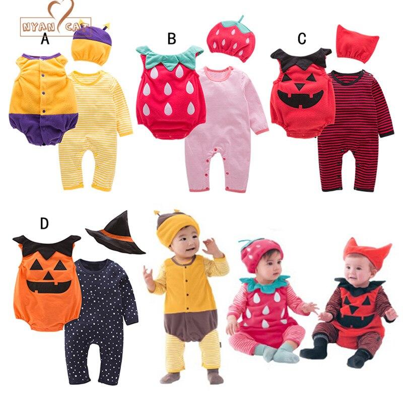 Nyan Cat Хэллоуин Детский костюм тыквы клубника Bee комплект одежды 3 шт. шляпа + ползунки + боди для малышей Одежда для мальчиков и девочек