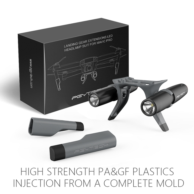 Extended Landing Gear Leg Support Protector Extension LED Headlamp Front Bright LED Light set For DJI Mavic Pro/platinum