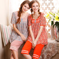 100% Algodão 2016 Verão Mulheres Sleepwear Conjuntos de Pijama Camisola Imprimir Pijamas para Mulheres Pijamas Mulheres Pijama Twinset Salão Informal