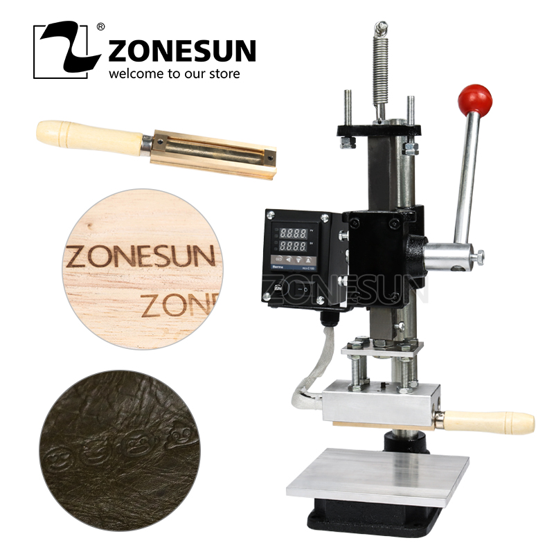 ZONESUN Embossing Leather PU Wood Hot Foil Stamping Machine Alphabet Heating Machine For Bag Wallet Phone Case