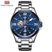MINI FOCUS Mens Luminous Watches Stainless Steel Business Chronograph Quartz Wristwatch Army relogio masculino Clock MFS0199