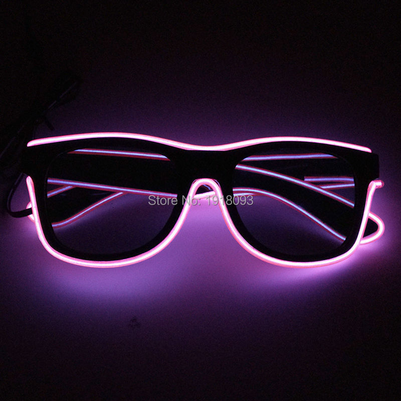 2019 New Style Fashionable Sunglasses Pink EL Wire Novelty Lighting LED Neon Light Up Party Festival Decor DC-3V Driver