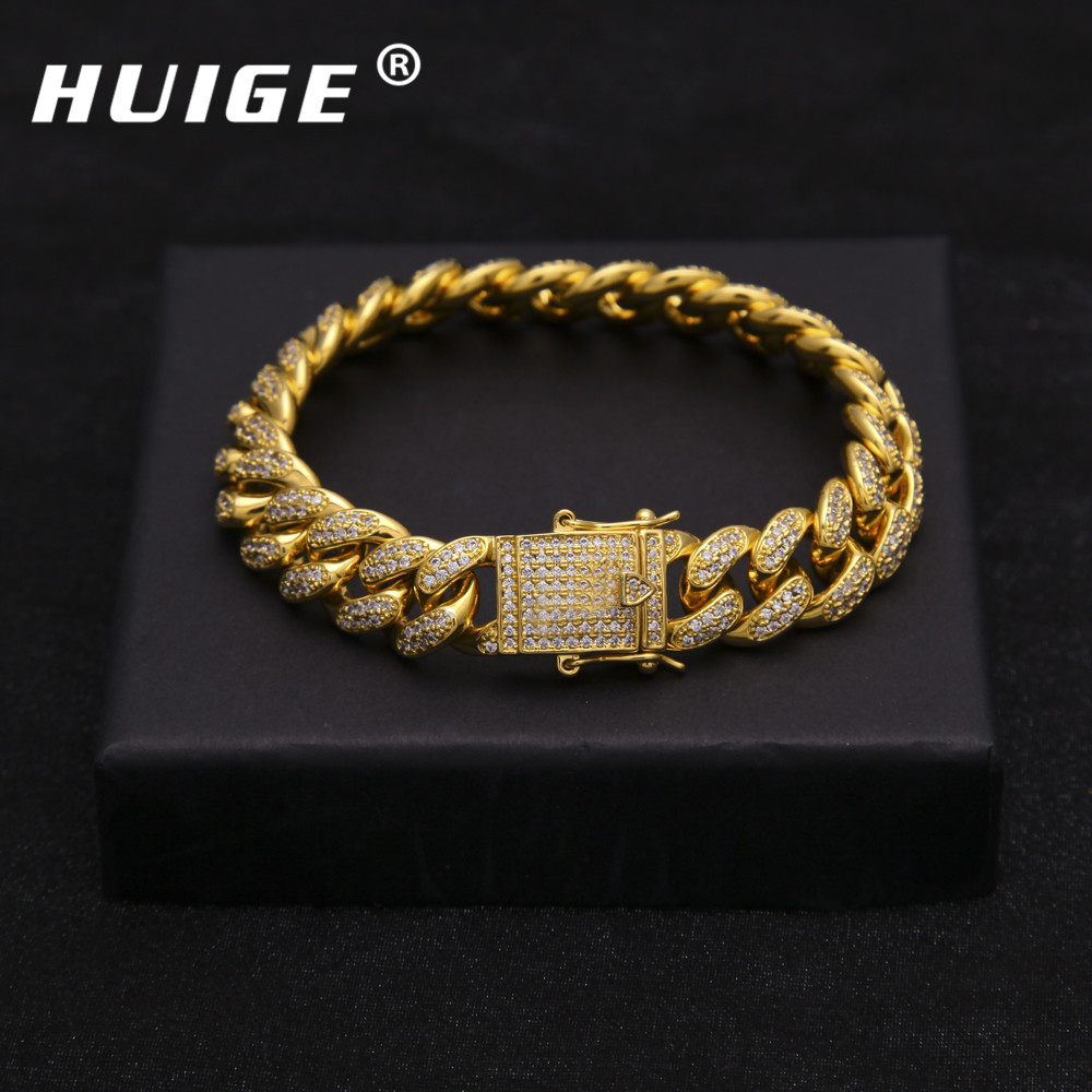 mm Copper Curb Cuban Bracelet Iced Out CZ Cuban Link Bracelet Gold