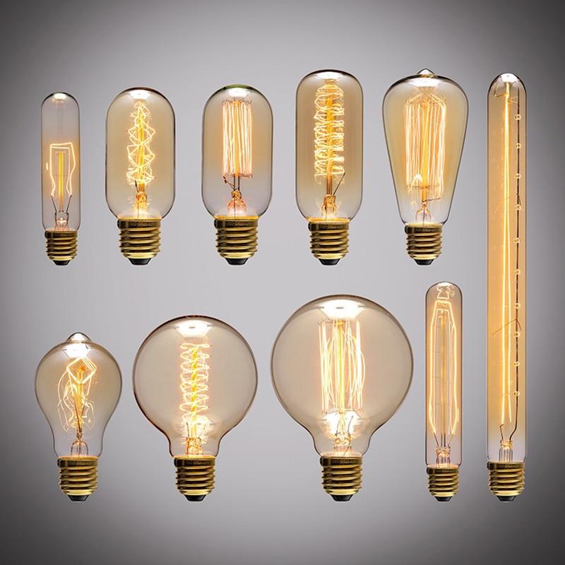 Ретро Эдисон лампочка E27 220 V 40 W ST64 A19 A60 T10 T45 T185 G80 G95 нити Винтаж ампулы лампа накаливания Эдисон лампа