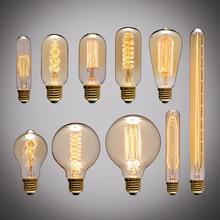 Ретро Эдисон Свет Лампа E27 220V 40W A19 A60 ST64 T10 T45 T185 G80 G95 нить ампула винтаж Лампа накаливания лампа Эдисон Лампа