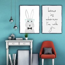 Nordic Modern Minimalist Cute Abstract Cartoon White Rabbit Childrens Room Canvas Painting Print Poster Picture Wall Home Decor
