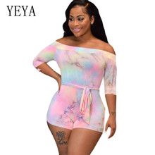 YEYA Tie Dyeing Sexy Off Shoulder Skinny Playsuits New Vintage Printed Bodycon Bandage Jumpsuits Femme Elegant Hollow Out Wear