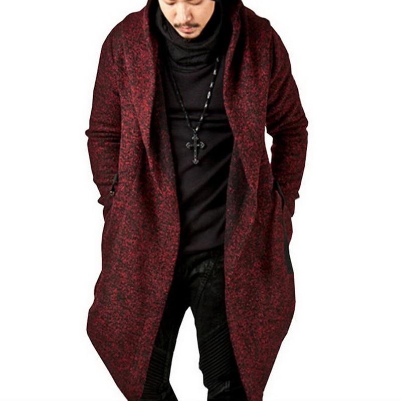Laamei Streetwear Mens Hooded Jacket Irregular Hem Male Jackets And Coats Mens Knit Jacket Veste Homme Mens Clothing 2018 Jackets & Coats