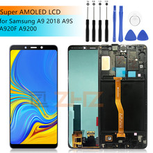 SAMSUNG GALAXY A9 LCD 2018 dokunmatik ekran Digitizer meclisi Samsung a9 A9200 A9s A9 Star Pro a920f yedek + çerçeve