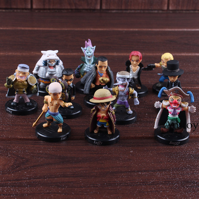 Anime One Piece Figure Shanks Luffy Lucci Crocodile Moria Buggy Enel Sabo Action Figure PVC Collectible Model Toy 12pcs/set 1