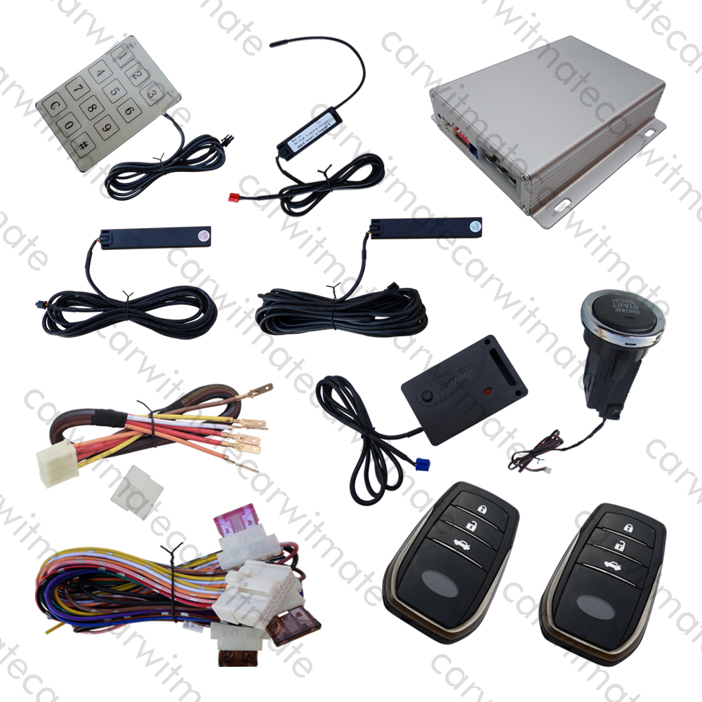 Universal RFID Car PKE Security Alarm System Long Push Button Vibration Warning Remote Engine Start Password Keypad easyguard pke car alarm system remote engine start stop shock sensor push button start stop window rise up automatically