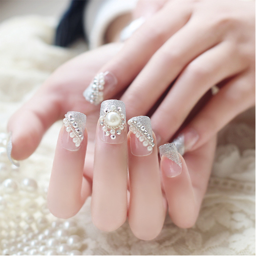 24pcs/Set Pretty Glitter False Nails Pearl Decal Wedding Bride Square Full Cover Fake Nail Tips With Glue-in False Nails from Beauty & Health on ...