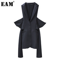 EAM 2018 New Spring Lapel Long Sleeve 2 Ways Wearing Off Shoulder Loose Solid Color