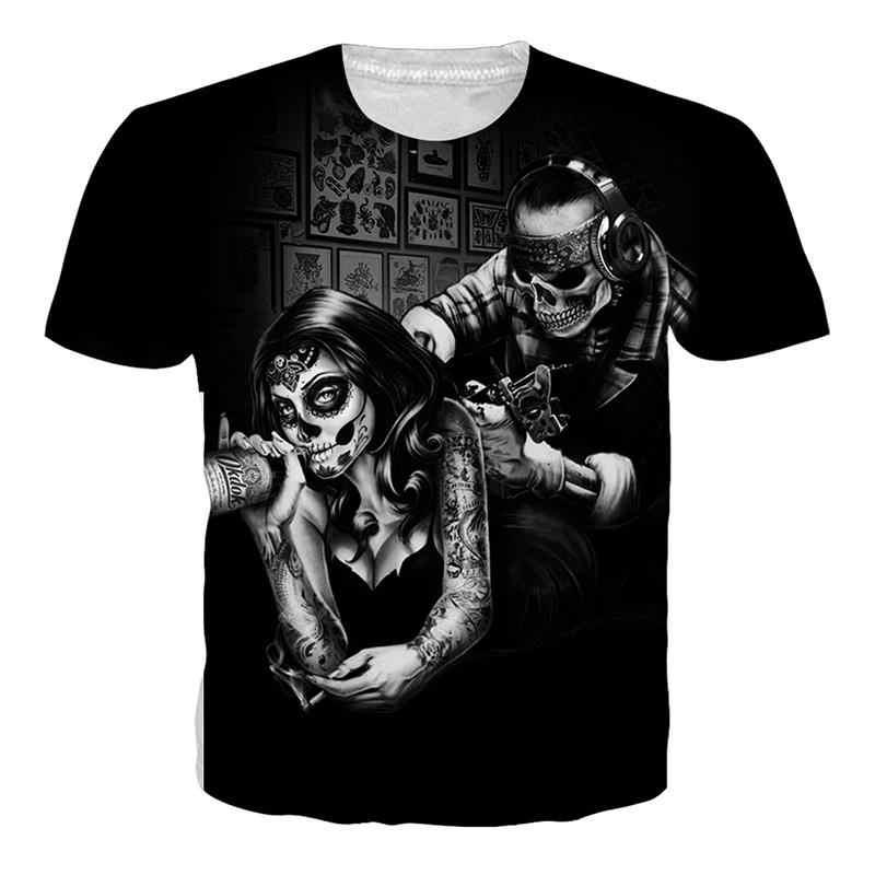 Hombres/mujeres Sexy camiseta verano Punk camisetas 3d camiseta estampado Sexy mujer cuerpo personalidad divertida camiseta de hip hop tatuajes