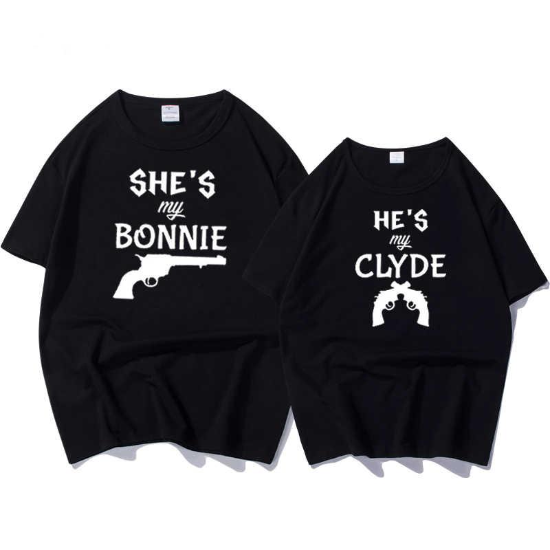 5affb093 Funny T-shirt Couple Matching T Shirts Letter Print Bonnie & Clyde Wedding  Anniversary Honeymoon