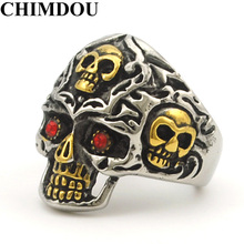 Retro Gothic Style Biker Motorcycle 14 Gold Plated Stainless Steel Skull Red Eye Skull Ring Men's Jewelry,AR413