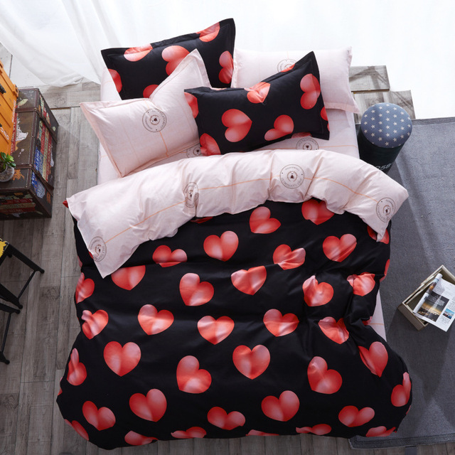 Pink Peach Heart Bedding Set Queen King Twin Size Bed Linen Flamingos Duvet Cover Plaid Sheets Pillow