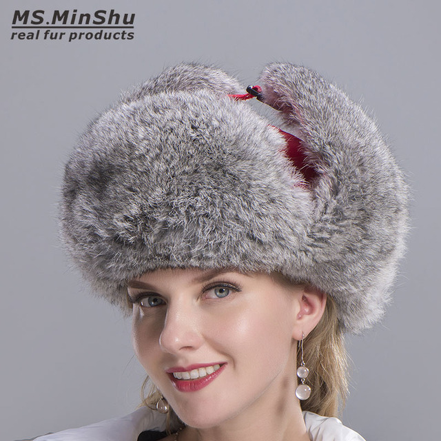 Russian Rabbit Fur Hat Skiing CapNatural Rabbit Fur Trapper Hat Winter Warm  Earflap Hat Genuine Rabbit 8bce00b5b803