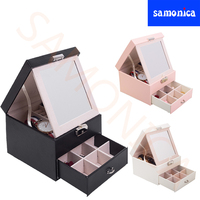 Three color Double layer PU Flip + Drawer Multi function Jewelry Display Storage Box Earrings Ring Watch Necklace Storage Case