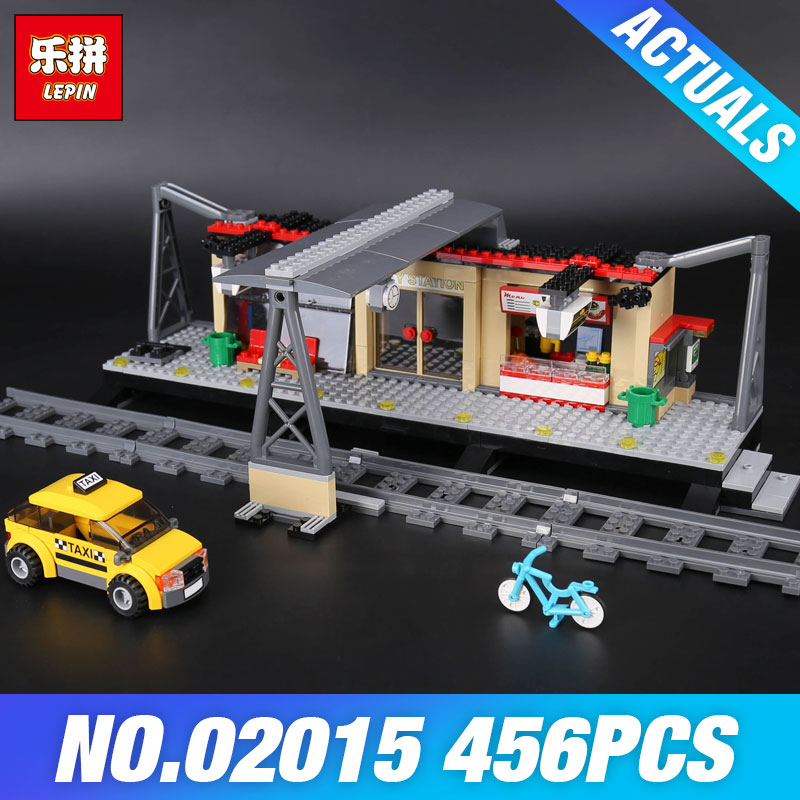 Lepin 02015 City Trains Series 60050 Train Station with Rail track Taxi 456Pcs Building Block Set Kids Model Brick DIY Child Toy ...