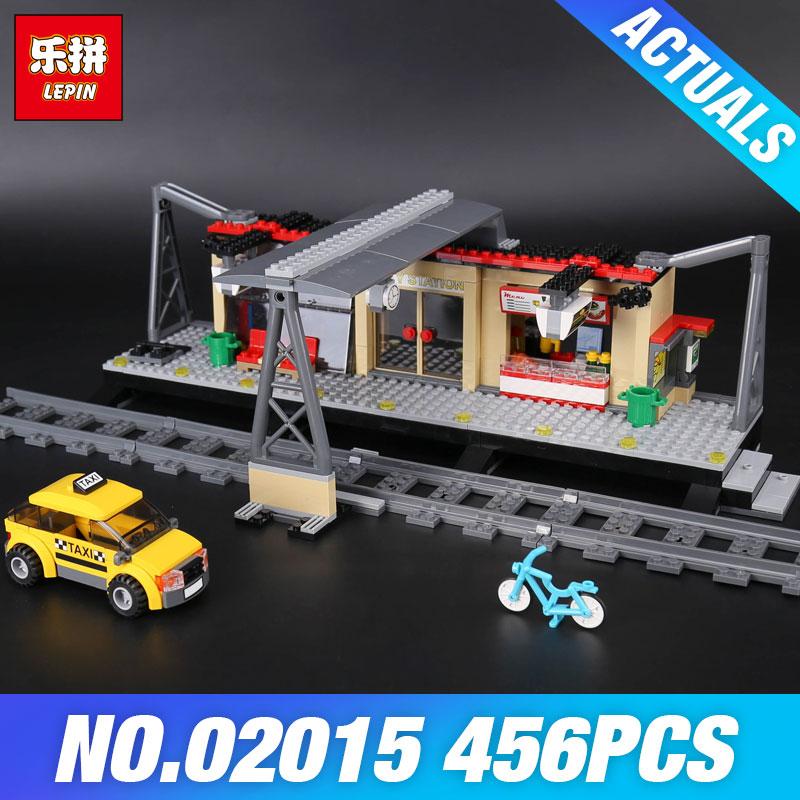 Lepin 02015 City Trains Series 60050 Train Station with Rail track Taxi 456Pcs Building Block Set Kids Model Brick DIY Child Toy ...