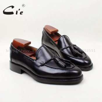 cie Round Toe 100% Genuine Leather Outsole Bespoke Goodyear Welted Custom Handmade Black  Tassels Slip-on Men's Shoe loafer 158 - DISCOUNT ITEM  0% OFF All Category