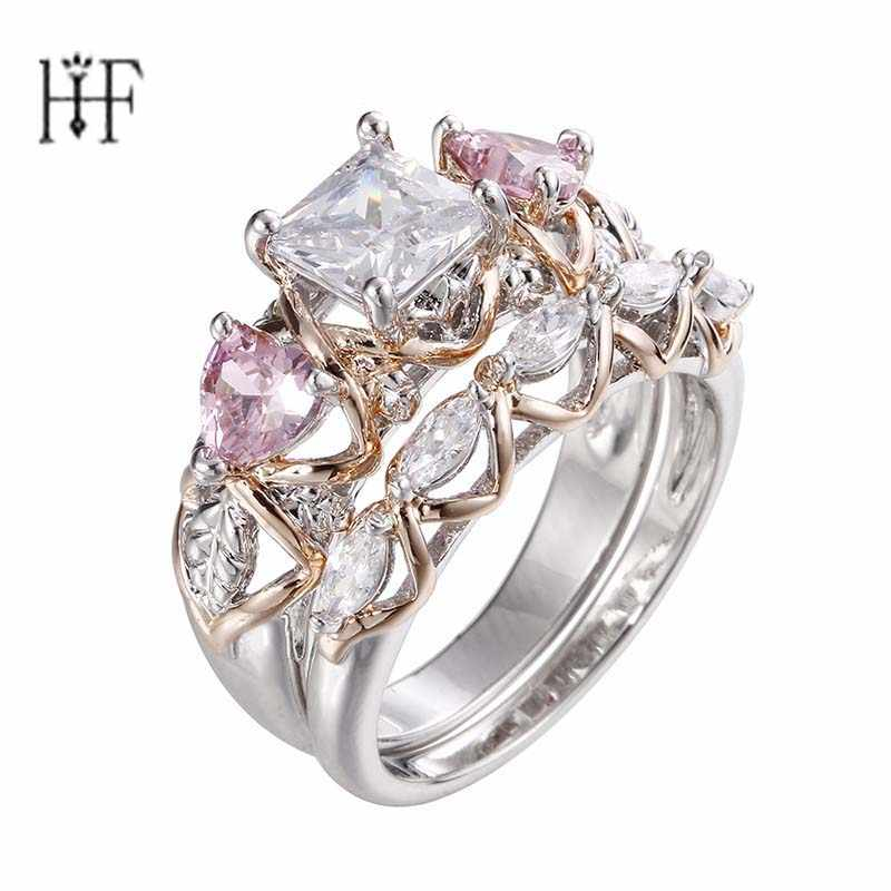 Big Rings for Women 1 Set Pink Cubic Zircon Heart Silver Color Ring Bague Femme Wedding Rings Engagement Ring Party Jewelry Gift