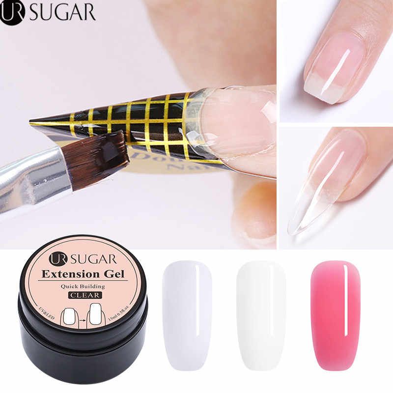 Ur Suiker 15 Ml Quick Extension Poly Uv Gel Clear Wit Roze Builder Nail Gel Polish Voor Nail Extensions Nail forms Acryl Tips