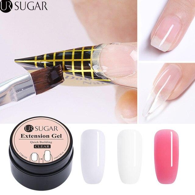 UR סוכר 15 ml מהיר הארכת פולי UV ג 'ל ברור לבן ורוד Builder ג' ל ציפורניים תוספות צורות אקריליק טיפים