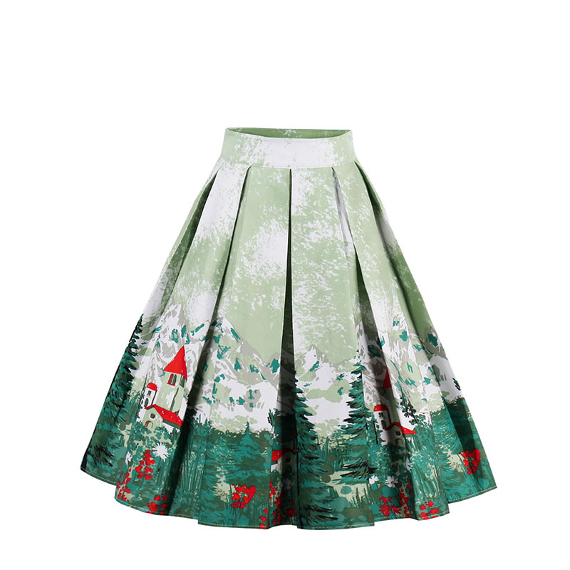 Women Girls Clothing Skirts Christmas Midi Floral Skirts A-Line Snowflake Printed Casual Winter Ladies SkirtsLB
