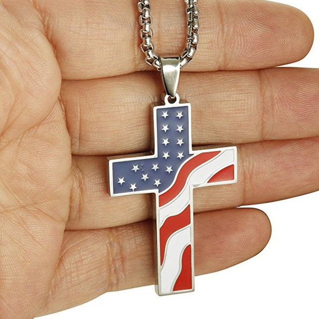 American USA Flag Necklaces Gold Cross Pendant Stainless Steel  4