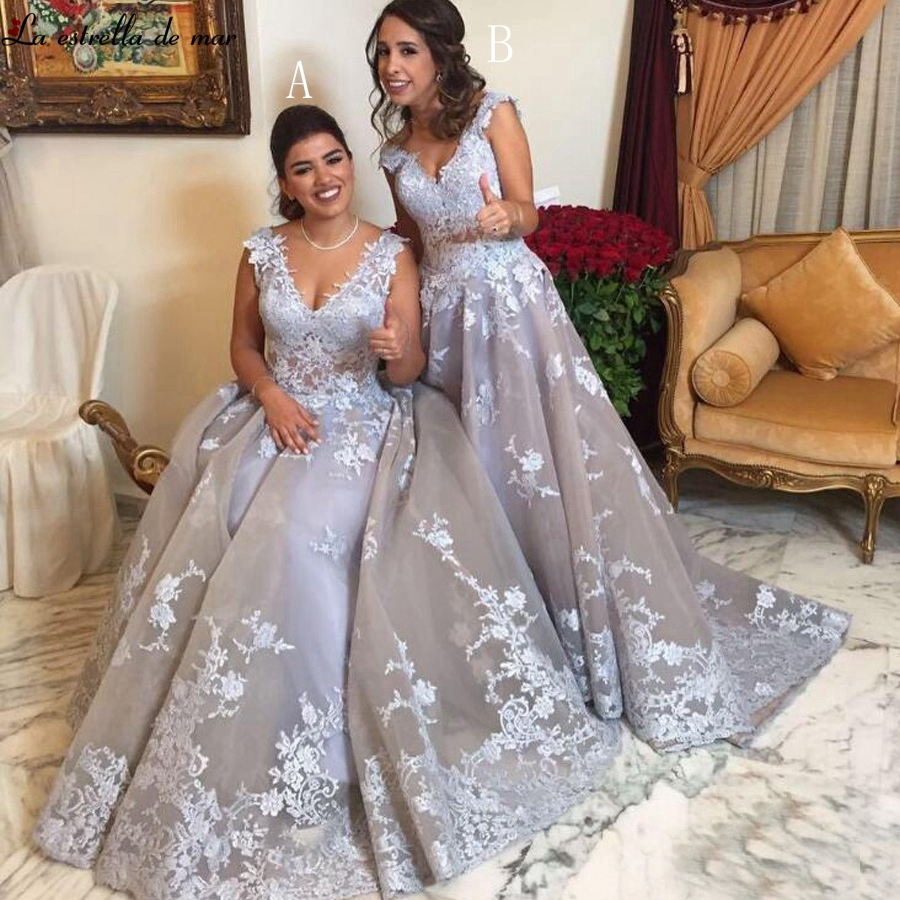 Long   dress   for wedding party for woman 2019 new tulle applique a line silver grey   bridesmaid     dress   plus size vestido madrinha
