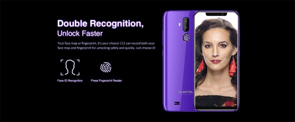 Я 6.18 видит С12 лицо ИД&; 19:9 Смартфон отпечатков пальцев Android 8.1 мобильный телефон MTK6580 четырехъядерных процессоров 2 ГБ оперативной памяти 16 Гб ROM 3300 мАч разблокировки