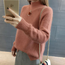 Autumn Winter Women Turtleneck Sweater Thickening Full Sleeve Knitting Pullover Female Loose Yellow Casual Top LJ0965