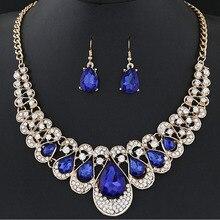 1 Set Charm Women's Jewelry Drop Earrings Gold Color Pendant Choker Necklace Dangle Hook Bib Jewelry Set Brinco Noiva