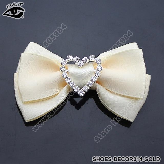 Fashion Ladys Gold Fabric Bow Clip On Rhinestones Shoe Decoration Wedding Decor Free