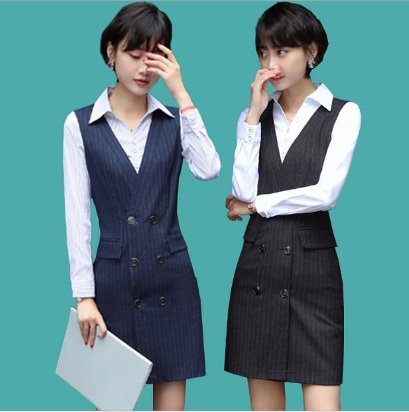 Ol style femmes grande taille col en v robes Double boutonnage moulante travail robe femme noir bleu rayé formel robes Mujer XXXL