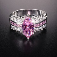 Big Hot Sale Luxury Marquise Cut Pink 3 Carat Simulated Diamond Wedding Ring For Women Have
