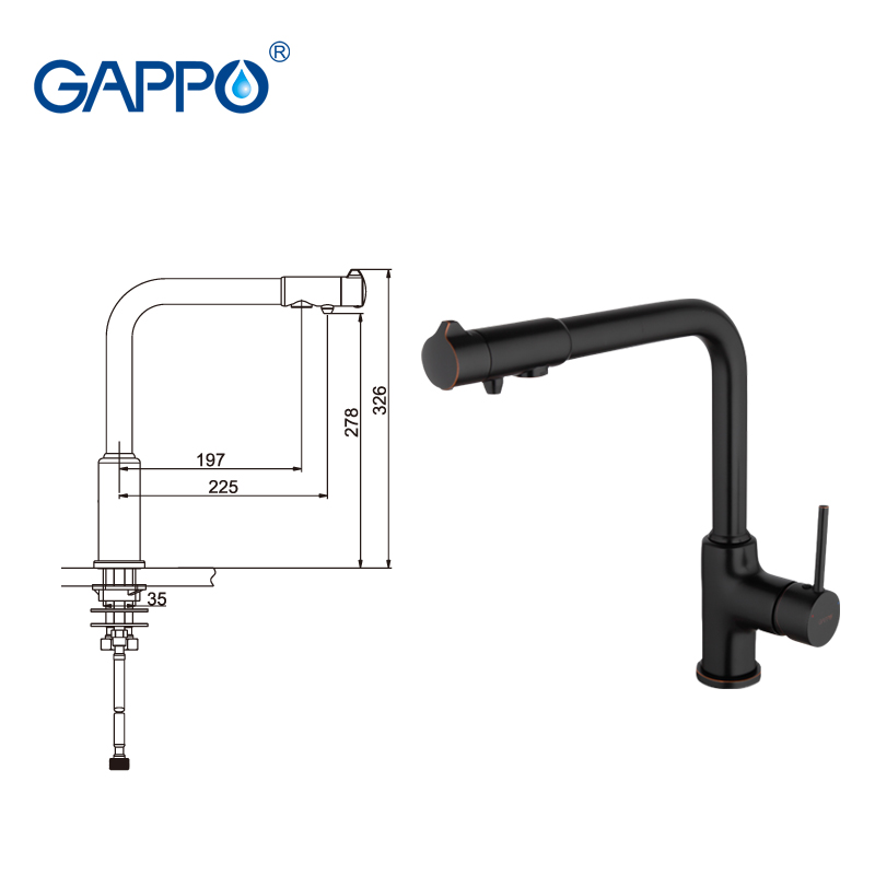 GAPPO robinet de cuisine avec robinet d'eau filtrée robinet d'évier de cuisine robinet filtré cuisine grue noire mitigeur torneira - 3