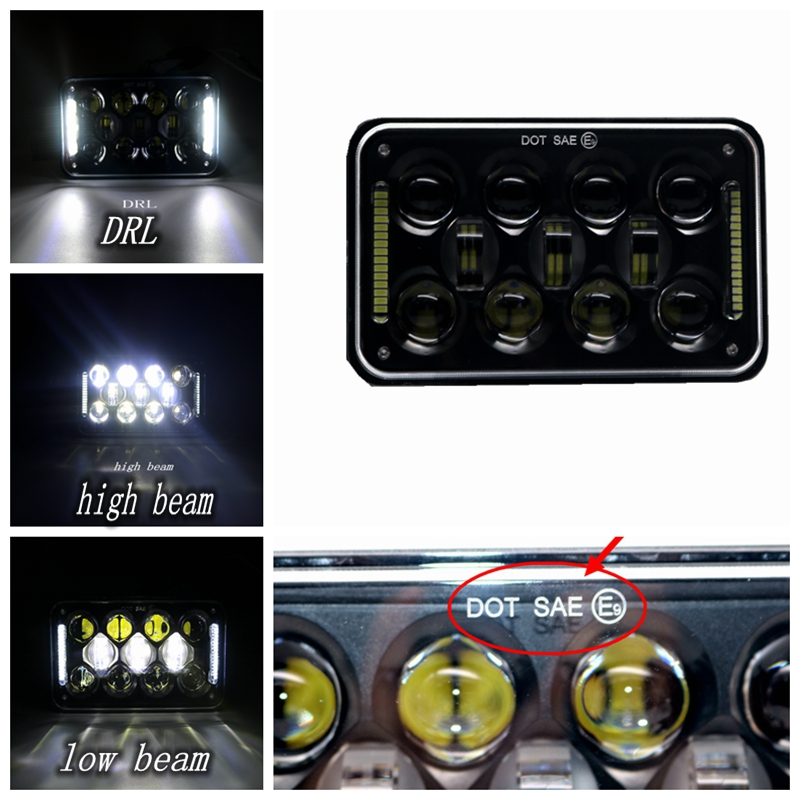 60W 4X6 Led Headlight High Low Beam DRL 10-30V Super Bright for FORD MUSTANG Freightliner Gmc W900/T600/T800/T400/W900B