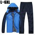 Engrossar inverno Parka Agasalho de Algodão Dos Homens Casual Sportswear Terno Dos Homens Hoodies Conjunto Jaqueta + Calça 2 PCS Camisolas 5XL 6XL SP04002