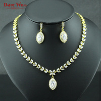 Luxury Gold Color Bridal Jewelry Sets For Women Cubic Zirconia Necklace and Earrings Sets