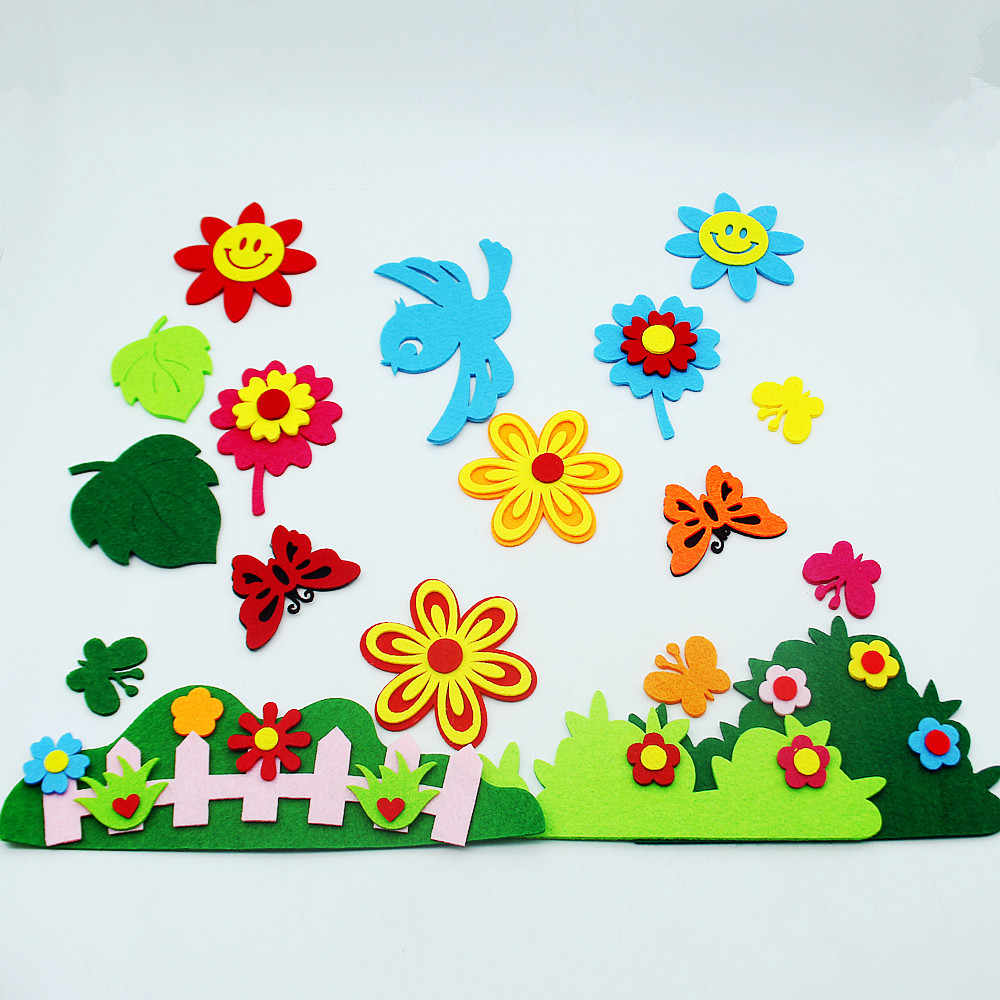 Cute Flower Fence Cutting Felt Cloth Material Handmade DIY Home Kids Room Decor Crafts Grass Sticker For Kindergarten Decoration