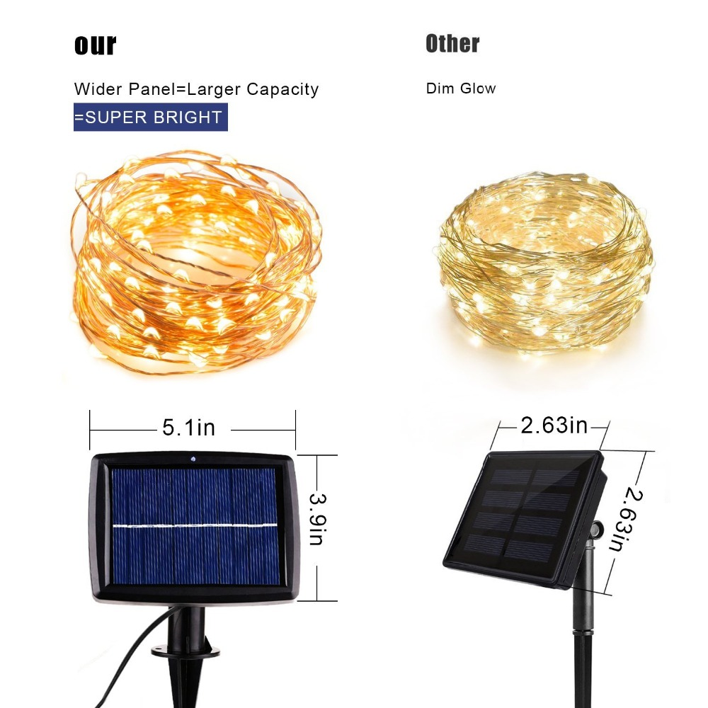 cooper wire solar lamps strings light for holiday fairy garden christmas lights (19)