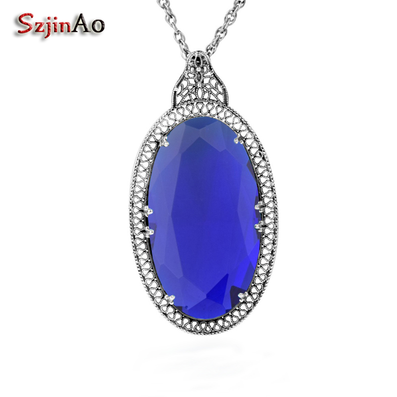 Szjinao European Flower Punk Retro Silver Thread 925 Sterling Silver Fashion Sapphire Pendant Necklace Wholesale