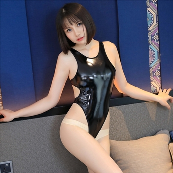 Lady Sexy PVC Backless Faux Leather Zentai Catsuit