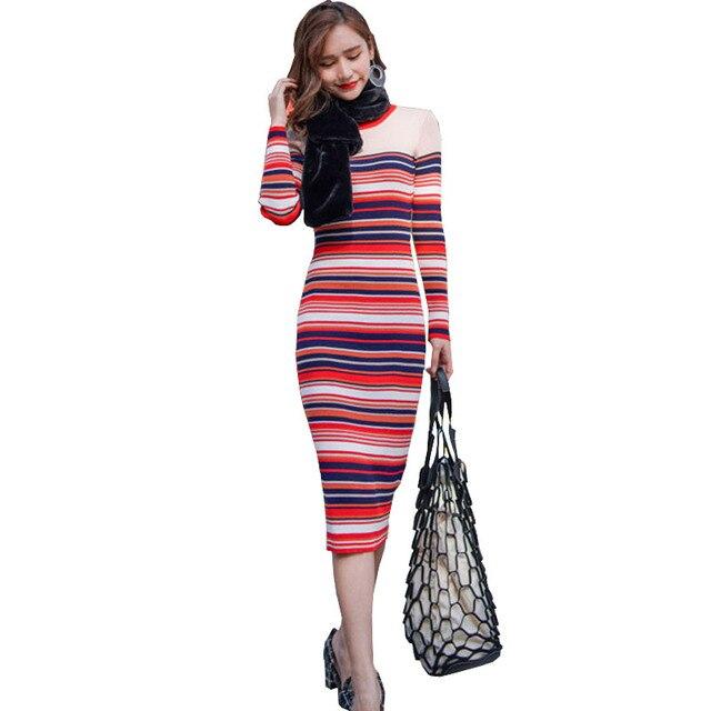 e54864e13 Novas Chegadas Mulheres Vestidos de Inverno Da Moda Coreana Colorido  Listrado Manga Longa Camisola de Malha