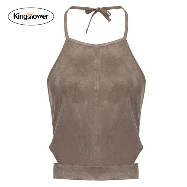 2016 primavera verão quente moda Sexy colheita umbigo Tops Light Tan tornar colete apertado expostos Bandage Backless Camis tanques Top W7079